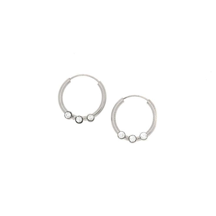 12MM Sterling Silver Crystal Hoop Earrings,