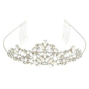 Silver Mermaid Pearl Floral Tiara,