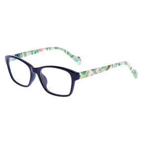 Palm Leaf Rectangle Clear Lens Frames - Navy,