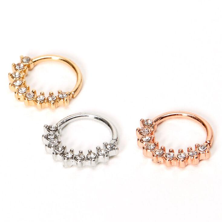 Mixed Metal 18G Crystal Luxe Cartilage Hoop Earrings - 3 Pack,
