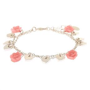 Rose Heart Charm Bracelet,