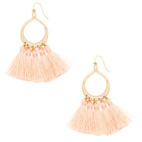 "3"" Tassel Drop Earrings - Blush,"