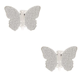 Silver Glitter Butterfly Clip On Stud Earrings,