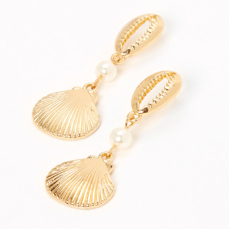 "Gold 2"" Cowrie Seashell Pearl Drop Earrings,"