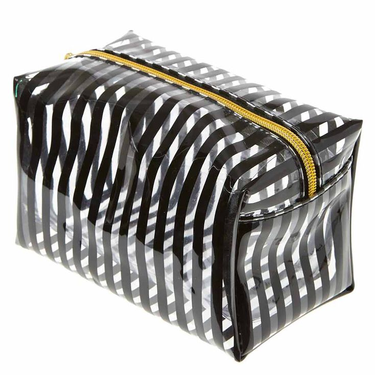 Translucent Black Striped Cosmetic Bag,