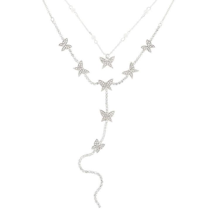 Silver Butterfly Multi Strand Choker Necklace,