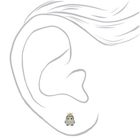 Sterling Silver Crown Penguin Stud Earrings,