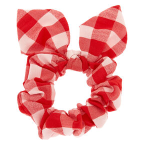 Checkered Knotted Bow Hair Scrunchie - Red,