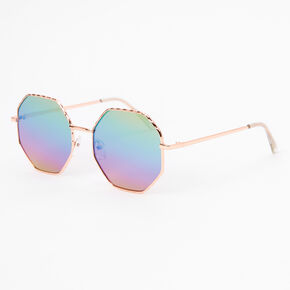 Rose Gold Hexagon Rainbow Lens Sunglasses,