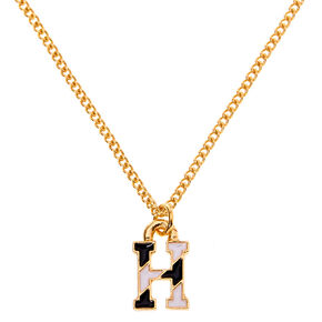 Gold Striped Initial Pendant Necklace - H,