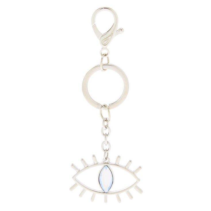 Crystal Evil Eye Keychain - Silver,