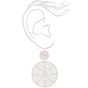"Silver 3"" Circle Filigree Double Drop Earrings,"