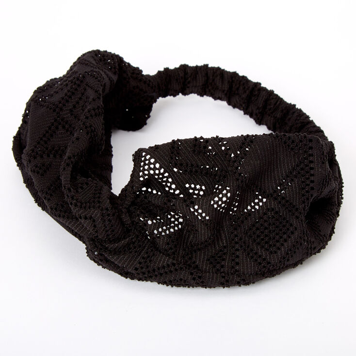Aztec Mesh Twisted Headwrap - Black,