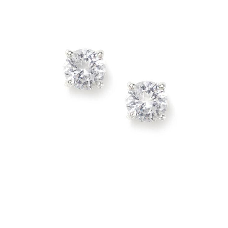 6MM Butterfly Set Cubic Zirconia Round Stud Earrings,