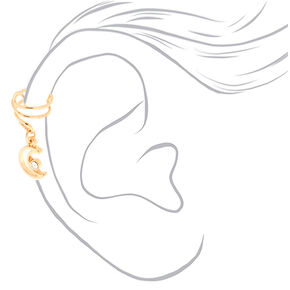 Gold Moon Charm Ear Cuff,