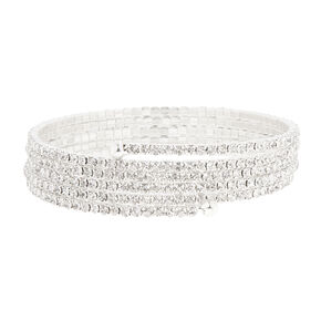Silver Glass Rhinestone Wrap Statement Bracelet,
