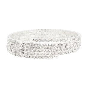 Thin Silver & Rhinestone Coil Bracelet,