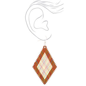 "Wood 3"" Rainbow Thread Diamond Drop Earrings,"