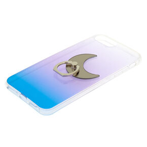 Ombre Crescent Moon Ring Stand Phone Case - Blue,
