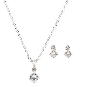 Silver Cubic Zirconia Diamond Drop Pendant Necklace and Earrings Set,
