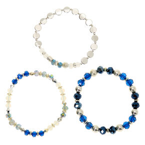 Silver Bead Stretch Bracelets - Blue, 3 Pack,