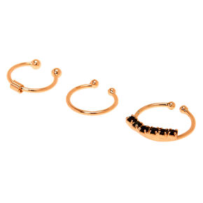 Rose Gold Crystal Faux Cartilage Hoop Earrings - Black, 3 Pack,