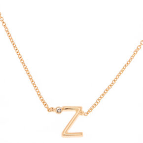 Gold Initial Necklace - Z,