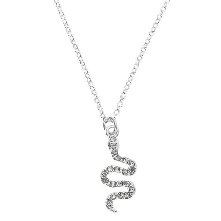 Silver Embellished Snake Pendant Necklace,