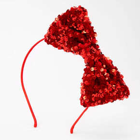 Giant Sequin Bow Headband - Red,