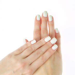 Iridescent Square Faux Nail Set - White, 24 Pack,