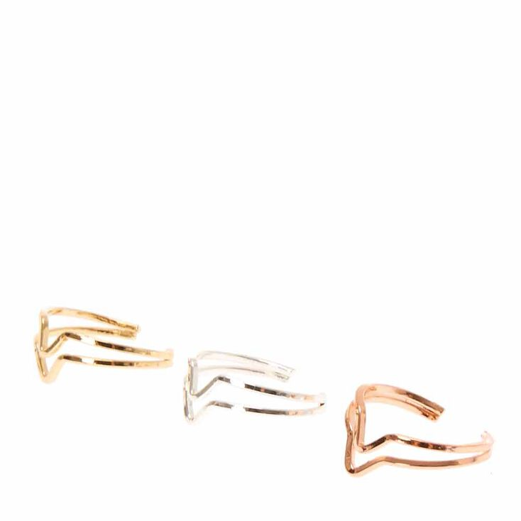 Rose gold, Gold & Silver Toned Chevron Toe Rings,