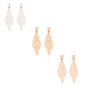 "Mixed Metal 1.5"" Clip On Drop Earrings - 3 Pack,"