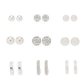 9 Pack Silver-Tone Stud Earrings,