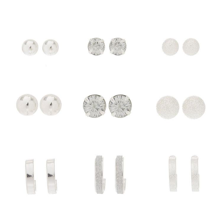 9 Pack Silver-Tone Stud Earrings,