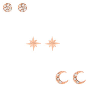 18kt Rose Gold Crystal Celestial Earrings - 3 Pack,