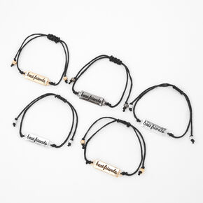 Mixed Metal Script Plated Adjustable Friendship Bracelets - 5 Pack,