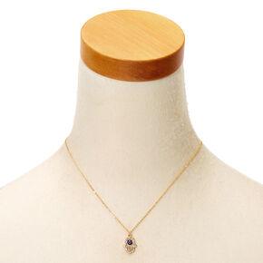 Gold Hamsa Hand Pendant Necklace,