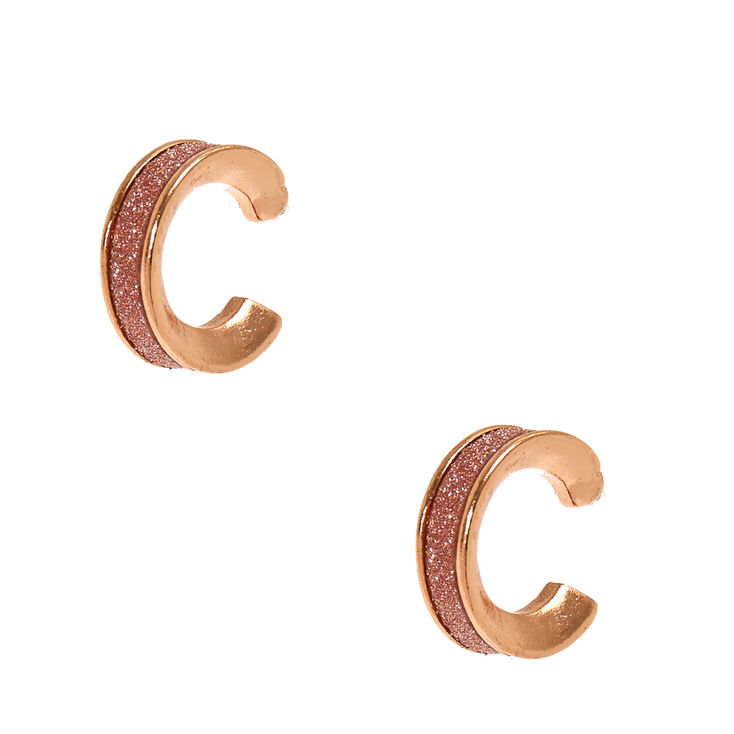 Tiny Rose Gold Glitter Tape Hoop Earrings,