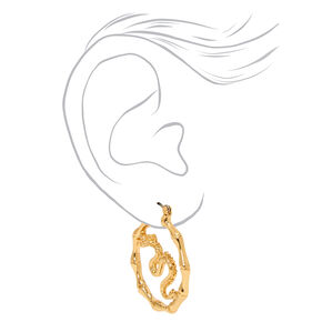Gold 30MM Dragon Bamboo Hoop Earrings,