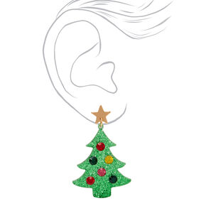"""Gold 2"""" Glitter Christmas Tree Drop Earrings - Green,"""