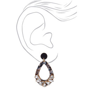 "2"" Crystal Drop Earrings - Black,"