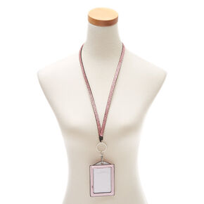 Marbled Foil ID Holder with Lanyard - Pink,