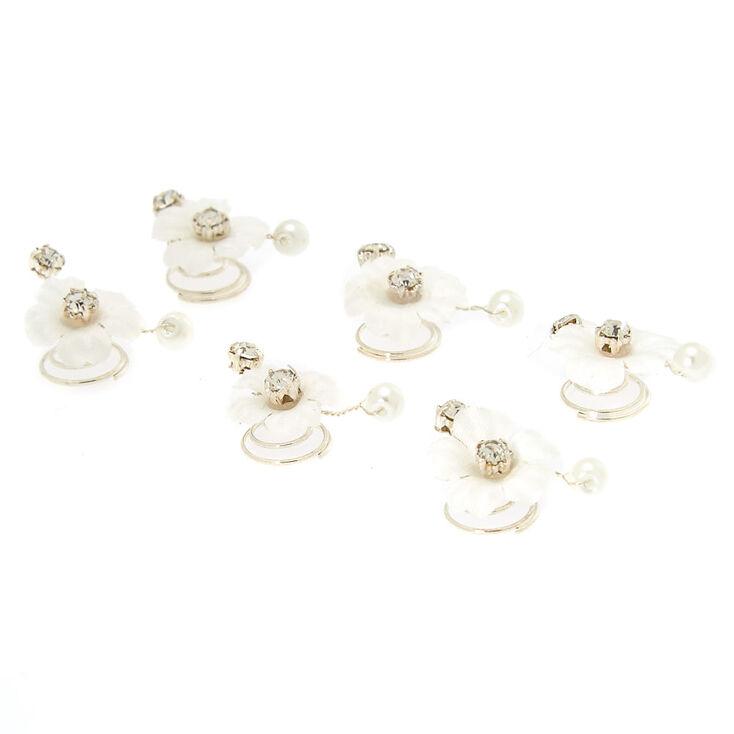 Rhinestone & Pearl Flower Hair Spinners - White,
