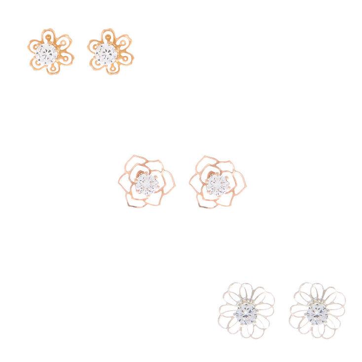 Mixed Metal Cubic Zirconia Flower Stud Earrings - 3 Pack,