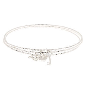 Silver Romantic Charm Bangle Bracelets - 3 Pack,