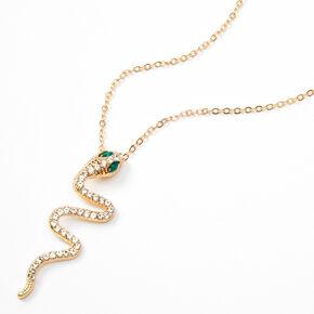 Gold Rhinestone Jumbo Snake Pendant Necklace,
