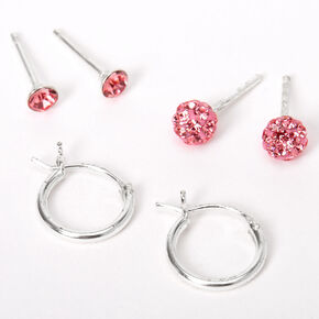 Sterling Silver Fireball Stud & Hoop Earrings - Pink, 3 Pack,