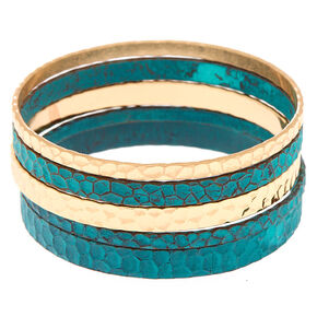 Gold Patina Bangle Bracelets - 5 Pack,