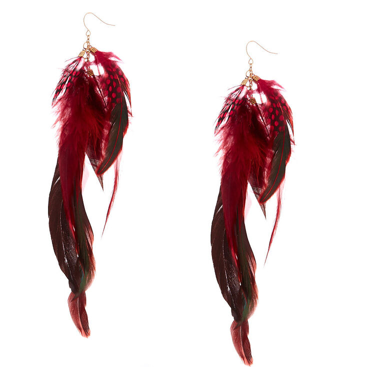 "7"" Festival Feather Drop Earrings - Red,"