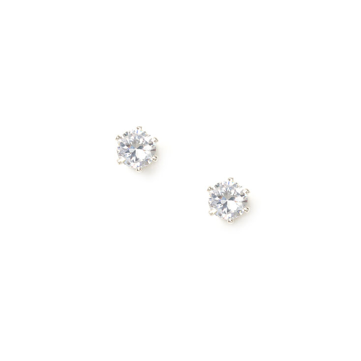 4MM Round & Quartered Cubic Zirconia Cupcake Set Stud Earrings,